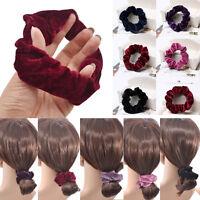 4pcs Velvet Ponytail Holder Hair Scrunchies Hair Ties Donut Maker Hairbands