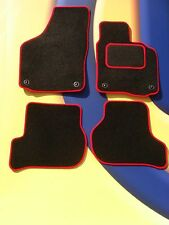 VW GOLF Mk4 1997-2004 CAR MATS BLACK CARPET/ RED EDGE WITH 4 OVAL FRONT CLIPS B