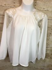 Truth NY Sz 3X Plus Off  White Semi Sheer Boho Peasant Top with Gold Lace Insets