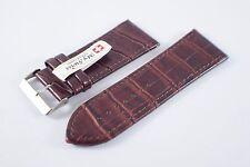 My Swiss Leather Strap Watch Bands Crocodile Pattern Width 32 mm. Dark Brown