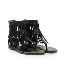 Sam Edelman Griffen Black New Tumbled Leather Fringe Sandal womens 6-10/ NEW!!!