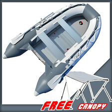 BRIS 10.8 ft Inflatable Boat Dinghy Tender Pontoon Boat + Free Bimini Top Canopy