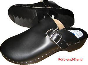Schweden Holz-Clogs, Leder schwarz, Schuhe Größe 40 # Neu