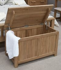 Nero solid oak bedroom furniture blanket toy box chest  with felt pads