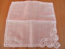 Beautiful Vintage Wedding ladies Cotton Lawn ,handmade Lace Hankie Handkerchief