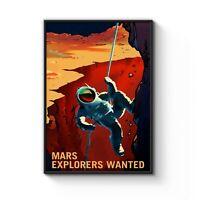 """Mars Explorers Wanted"" Space NASA Art Poster Print - A4 A3 A2 A1 A0 Framed"