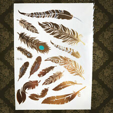 Hot Flash Temporary Gold Tattoo Metallic Peacock Feather Leaf Fake Tatoo Sticker