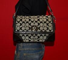 COACH Hamptons Signature Flap Black Gray Purse Satchel CrossBody Purse Bag 13066