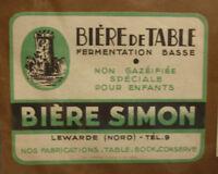 1950s FRENCH BEER LABEL, BRASSERIE DE LEWARDE FRANCE, TABLE BIERE SIMON