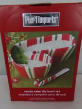 Pier 1 Imports Candy Cane Dip Bowl Set with Spreader Christmas