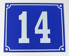 """Aluminium Hausnummer """"14"""" 12x10cm blau Hausnummernschild sofort lieferbar Schild"""