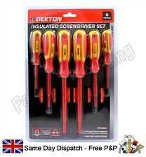 Electricians 6 Piece Fully Insulated Screwdriver Set Anti Slip Soft Grip Handles