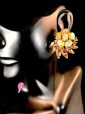 RARE 1961 CROWN TRIFARI TOPAZ AMBER ETOILE LAVA NUGGET CABOCHON CLIP EARRINGS