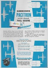 NORTHEAST AIRLINES 1956 DC-6B WITH SIMMONDS PACITRON FUEL GAGE AD