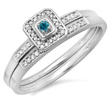 0.15 CT 10K White Gold Round Blue And White Diamond Halo Engagement Ring Set