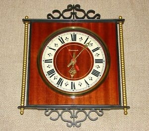 USSR Vintage Soviet electro-mechanical wall clock JANTAR wood good condition
