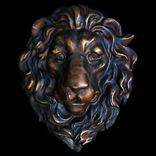 Lion Head Sculpture wall plaque in Antique Bronze Finish