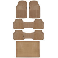 BPA Free No-Smell Rubber Car Floor Mats Heavy Duty Runners Cargo Liner Beige Set