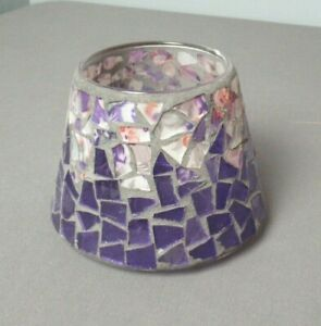 Candle Lamp Shade Mosaic Tile Glass Floral Pieces - Purple & Pink - j sb