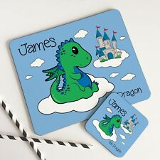 Personalised Wooden Glossy Baby Green Dragon Placemat & Coaster Set for Kids