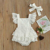 NEW Baby Girls White Lace Ruffle Romper Headband Easter Outfit