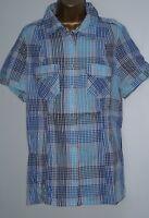 LADIES PLUS SIZE C&A Check Blouse Short Sleeve Shirt Top 14-16, 18-20, 22-24