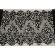 Black Eyelash Ruffled Lace Trim Dress Sewing Craft Floral Fabric 3 Yard