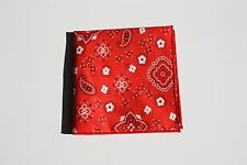 Men's Red Bandana Print Pocket Square with Red Trim