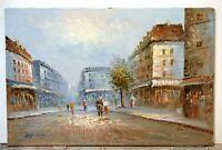 Caroline Burnett Unframed Vibrant Original Oil Painting of Paris Street Scene