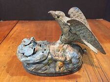 Antique Original J & E Stevens Cast Iron Mechanical Bank Eagle & Eaglets c. 1883