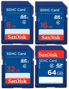 SanDisk 8GB 16GB 32GB 64GB SD SDHC SDXC Class 4 Memory Card for Digital Cameras