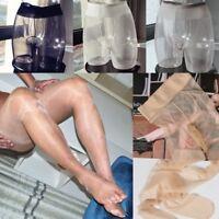 Men's Glitter Tights Sheer Nylon Sheath Pouch Stretchy Shiny Pantyhose Stockings