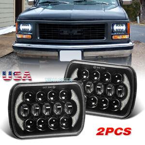 Pair 5X7/7X6 LED Headlights DRL Hi/Lo Beam DOT For GMC TopKick C4500 C5500 Truck