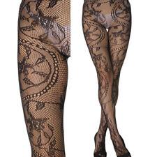 Black Sheer Retro Vintage Vase Vine Stockings Floral Flower Pantyhose Tights OS