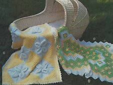 Baby Pram and Cot Blanket/Shawl Knitting and Crochet Patterns leaf & Zig Zag 908
