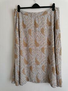 NEW M&S A Line Beige Floral Skirt UK 22
