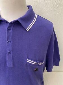 Luke Purple Short Sleeve Button Collar Cotton Jumper / Polo Shirt - Size 2 -XL
