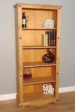 Corona Tall Bookcase Large Display Unit Solid Mexican Pine Wood by Mercers