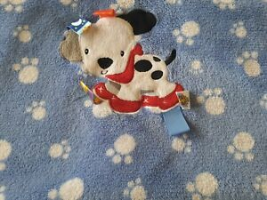 TAGGIES Blue Puppy Dog Dalmatian Baby Blanket White Paw Print Plush Security