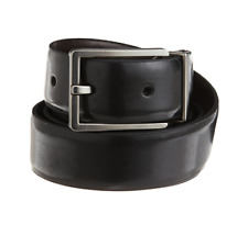 Calvin Klein Men's Smooth Leather Reversible Feather Edge Belt, Black/Brown, 34