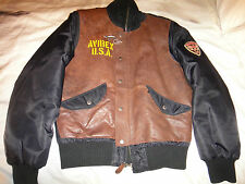 Avirex USA Brown Pilot Flight Bomber Style Leather Jacket Size M Rare!!!!