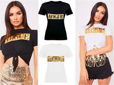 Ladies Women Vogue Slogan Gold Foil Print T-Shirt Tee Tops 8-14