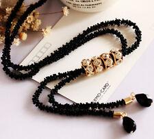 Women Beads Chain Choker Chunky Long Sweater Necklace Tassels Pendant Jewelry
