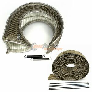 T4 GT45 S400 TP38 Large Turbo Heat Shield Blanket + 2'' 50FT Exhaust Header Wrap