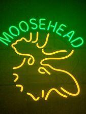 Moosehead Lager Deer Neon Light Sign 24x24 Beer Bar Man Cave Glass rare vintage