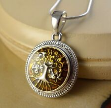 pendant gifts for women girls jewelry Tree Of Life brown metal snap button