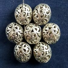 30Pcs Carved Tibet Silver Hollow Out Oval Pendant Bead 16x13x11mm JC451