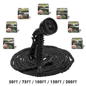 Heavy Duty Garden Hose Pipe Extra Long Expandable Water Spray Gun 50FT-200FT UK