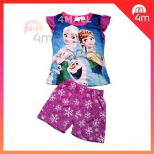 Kids Girls Summer Short Sleeve Outfits PJ Pyjamas Disney Frozen Elsa & Anna Sz