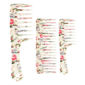 3x Plastic Wide Tooth Detangling Hair Comb Wet Dry Shower Combs w/ Flower Prints